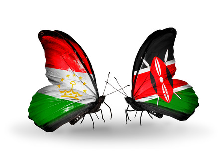 economy of tajikistan: Two butterflies with flags on wings as symbol of relations Tajikistan and Kenya