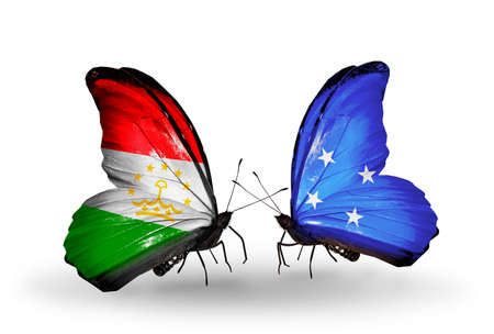 Two butterflies with flags on wings as symbol of relations Tajikistan and Micronesia photo