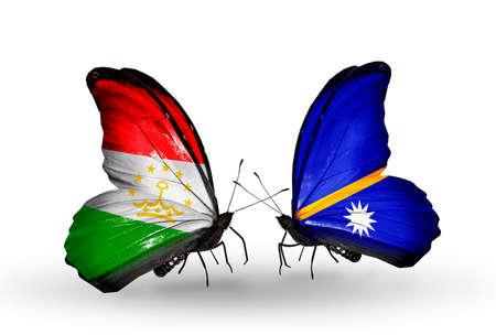 economy of tajikistan: Two butterflies with flags on wings as symbol of relations Tajikistan and Nauru