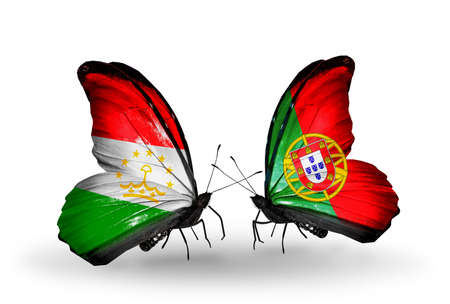 economy of tajikistan: Two butterflies with flags on wings as symbol of relations Tajikistan and Portugal