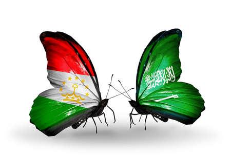 economy of tajikistan: Two butterflies with flags on wings as symbol of relations Tajikistan and Saudi Arabia Stock Photo