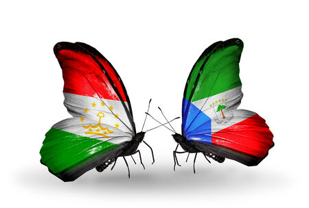 economy of tajikistan: Two butterflies with flags on wings as symbol of relations Tajikistan and Equatorial Guinea Stock Photo