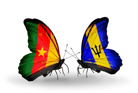 Two butterflies with flags on wings as symbol of relations Cameroon and Barbados photo
