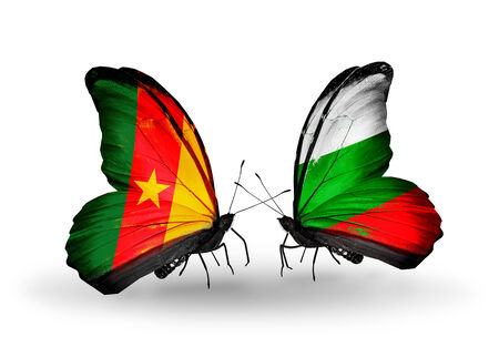 Two butterflies with flags on wings as symbol of relations Cameroon and Bulgaria photo