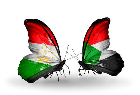 economy of tajikistan: Two butterflies with flags on wings as symbol of relations Tajikistan and Sudan