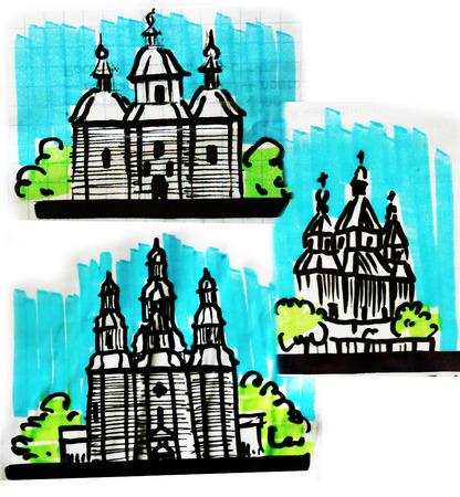 slavic: Sketches of slavic churches