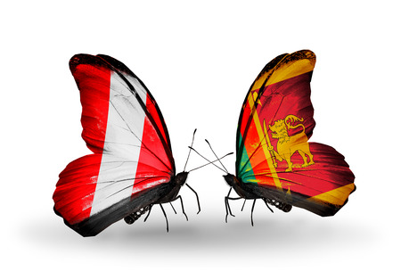 Two butterflies with flags on wings as symbol of relations Peru and Sri Lanka