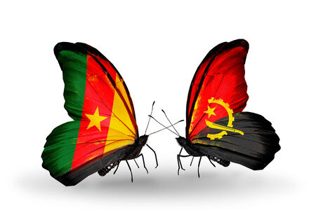 Two butterflies with flags on wings as symbol of relations Cameroon and Angola photo