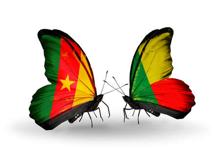 Two butterflies with flags on wings as symbol of relations Cameroon and Benin photo