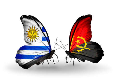 Two butterflies with flags on wings as symbol of relations Uruguay and Angola photo