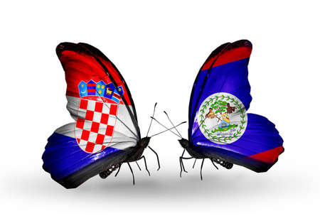 Two butterflies with flags on wings as symbol of relations Croatia and Belize photo