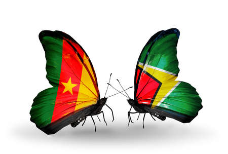 Two butterflies with flags on wings as symbol of relations Cameroon and Guyana photo