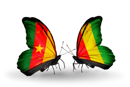 Two butterflies with flags on wings as symbol of relations Cameroon and Guinea photo