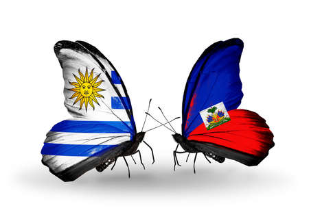 Two butterflies with flags on wings as symbol of relations Uruguay and Haiti photo