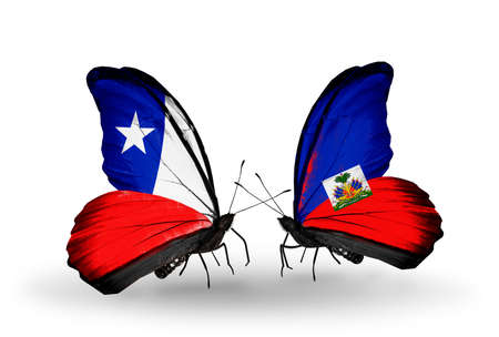Two butterflies with flags on wings as symbol of relations Chile and Haiti photo