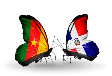 Two butterflies with flags on wings as symbol of relations Cameroon and Dominicana photo