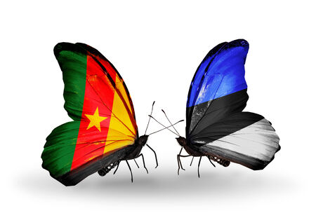 Two butterflies with flags on wings as symbol of relations Cameroon and Estonia photo
