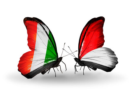 Two butterflies with flags on wings as symbol of relations Cote Divoire and Monaco, Indonesia photo