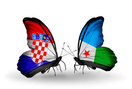 Two butterflies with flags on wings as symbol of relations Croatia and Djibouti photo
