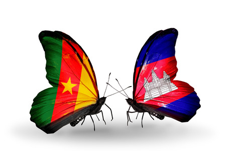Two butterflies with flags on wings as symbol of relations Cameroon and Cambodia photo