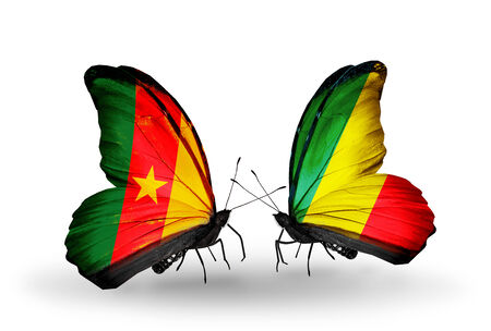 Two butterflies with flags on wings as symbol of relations Cameroon and Kongo photo