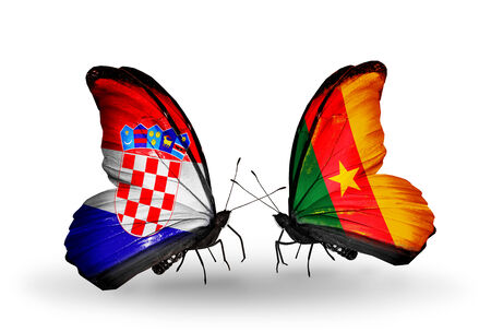Two butterflies with flags on wings as symbol of relations Croatia and Cameroon photo