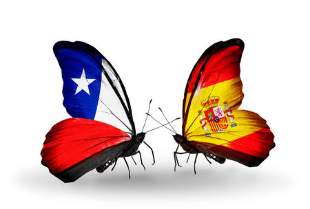 Two butterflies with flags on wings as symbol of relations Chile and Spain
