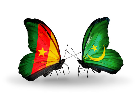 Two butterflies with flags on wings as symbol of relations Cameroon and Mauritania photo