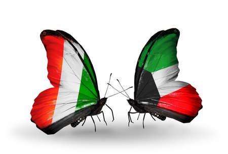 Two butterflies with flags on wings as symbol of relations Cote Divoire and Kuwait photo