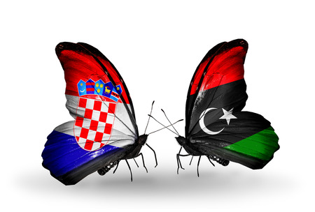 Two butterflies with flags on wings as symbol of relations Croatia and Libya photo