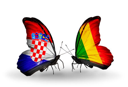 Two butterflies with flags on wings as symbol of relations Croatia and Mali photo