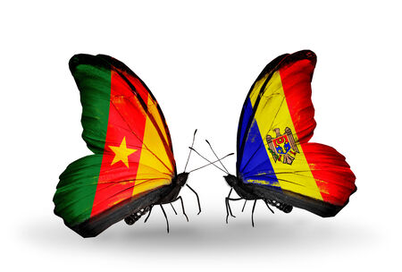 Two butterflies with flags on wings as symbol of relations Cameroon and Moldova photo