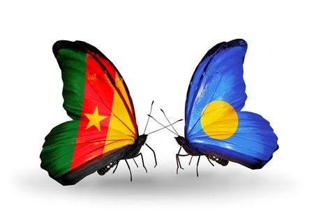Two butterflies with flags on wings as symbol of relations Cameroon and Palau photo