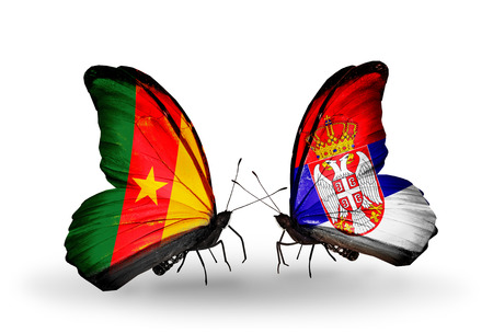 Two butterflies with flags on wings as symbol of relations Cameroon and Serbia photo