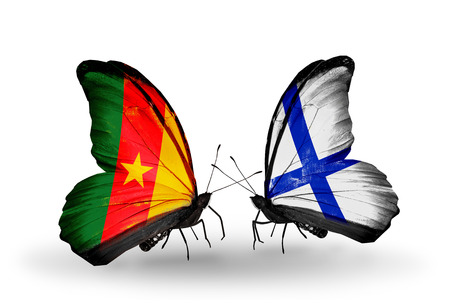 Two butterflies with flags on wings as symbol of relations Cameroon and Finland photo