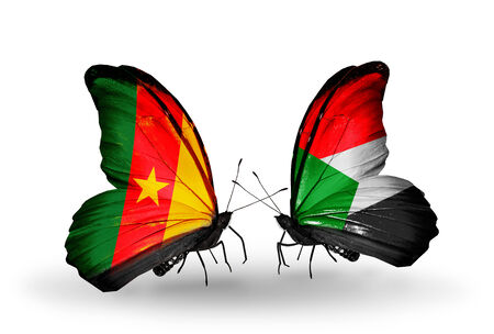 Two butterflies with flags on wings as symbol of relations Cameroon and Sudan photo