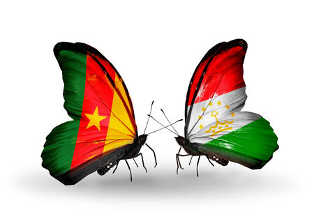 economy of tajikistan: Two butterflies with flags on wings as symbol of relations Cameroon and Tajikistan
