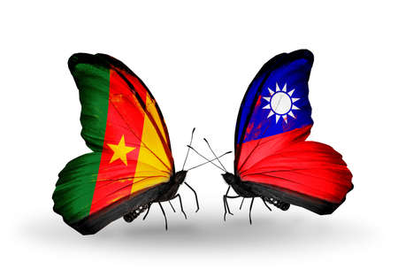 Two butterflies with flags on wings as symbol of relations Cameroon and Taiwan photo