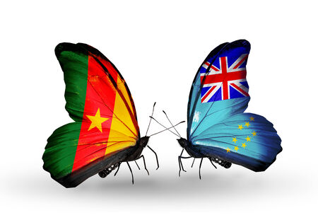 Two butterflies with flags on wings as symbol of relations Cameroon and Tuvalu photo