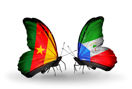 Two butterflies with flags on wings as symbol of relations Cameroon and Equatorial Guinea photo