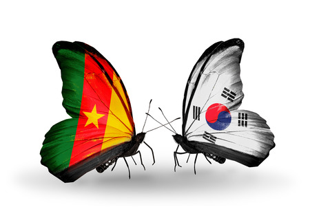 Two butterflies with flags on wings as symbol of relations Cameroon and South Korea photo