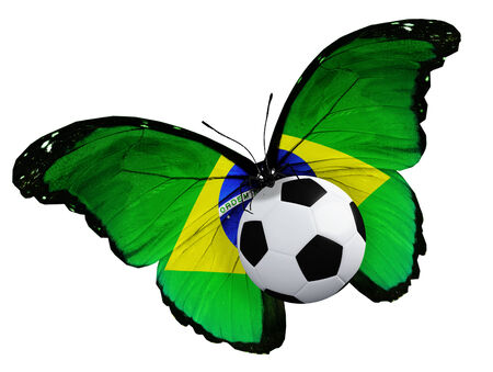 ball like: Concept - butterfly with Brazilian flag flying near the ball, like football team playing Stock Photo