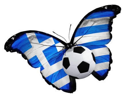 ball like: Concept - butterfly with Greek flag flying near the ball, like football team playing Stock Photo