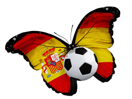 ball like: Concept - butterfly with Spanish flag flying near the ball, like football team playing Stock Photo