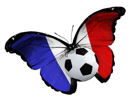 ball like: Concept - butterfly with French flag flying near the ball, like football team playing Stock Photo
