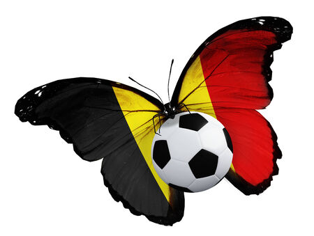 ball like: Concept - butterfly with Belgian flag flying near the ball, like football team playing Stock Photo