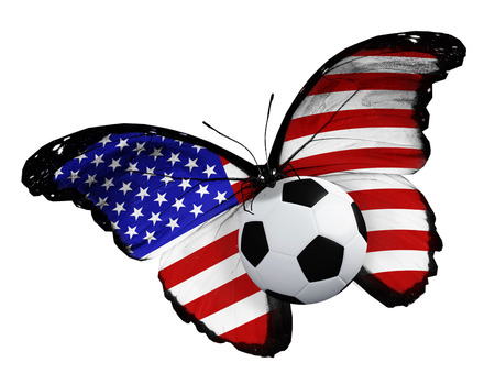 ball like: Concept - butterfly with USA flag flying near the ball, like football team playing