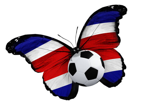 ball like: Concept - butterfly with Costa Rica flag flying near the ball, like football team playing Stock Photo