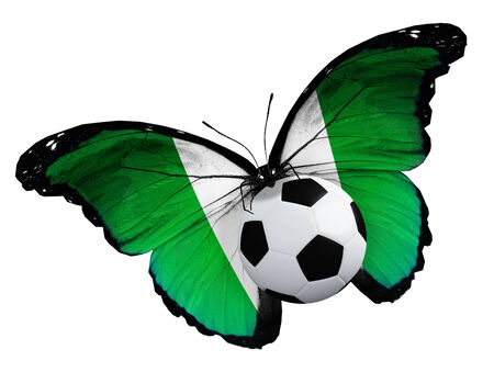 ball like: Concept - butterfly with Nigerian flag flying near the ball, like football team playing