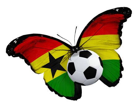 ball like: Concept - butterfly with Ghana flag flying near the ball, like football team playing